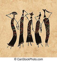 esboço, jarros, africano, fundo, ornate, seu, desenho, grunge, mulheres