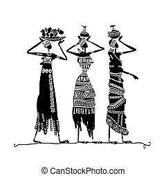 esboço, jarros, mão, étnico, desenhado, mulheres