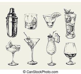 esboço, jogo, álcool, ilustração, mão, coquetéis, vetorial, desenhado, bebidas