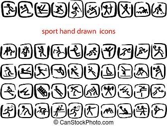 esboço, jogo, ícones, doodle, linhas, isolado, ilustração, mão, vetorial, experiência preta, desenhado, branca, desporto