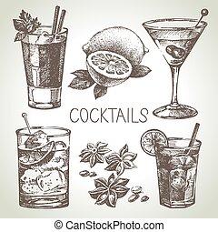 esboço, jogo, alcoólico, mão, coquetéis, desenhado