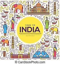 esboço, jogo, arquitetura, índia, infographic, bens, apartamento, moda, viagem, férias, item, fundo, étnico, feature., linha, ícone, pessoas, país, tradicional, lugar, magra, concept., guia