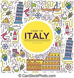 esboço, jogo, arquitetura, infographic, bens, itália, apartamento, moda, viagem, férias, item, fundo, étnico, feature., linha, ícone, pessoas, país, tradicional, lugar, magra, concept., guia