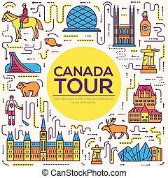 esboço, jogo, arquitetura, infographic, canadá, apartamento, moda, concept., férias, item, natureza, fundo, étnico, feature., linha, ícone, pessoas, país, tradicional, lugar, magra, viagem