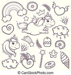 esboço, jogo, doodle, unicórnio, caricatura, doce, style.