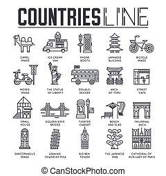 esboço, jogo, item, apartamento, natureza, moda, país, viagem, tradicional, pessoas, infographic, magra, fundo, étnico, linha, collextion., concept., arquitetura, ícone