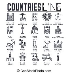 esboço, jogo, item, apartamento, natureza, moda, país, viagem, tradicional, pessoas, infographic, magra, fundo, étnico, collextion, linha, ícone, concept., arquitetura, set.