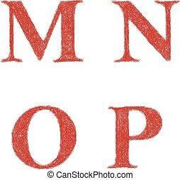 esboço, jogo, letras, m, -, p, este prego, n, fonte, vermelho