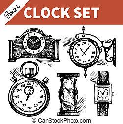 esboço, jogo, relógios, mão, clocks, desenhado