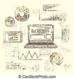 esboço, laptop, esperto, telefone, tabuleta, finanças, mapa,...