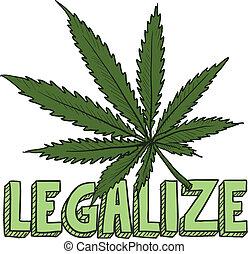 esboço, legalize, marijuana