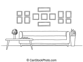 esboço, linear, modernos, vetorial, interior, style.