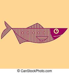esboço, linha arte, estilo, peixe, ilustração