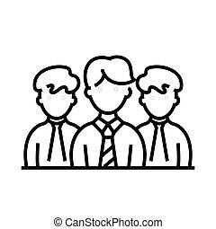 esboço, linha, coletivo, vetorial, sinal, empregados, ilustração, linear, símbolo., conceito, ícone