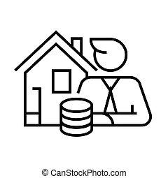 esboço, linha, renda, doméstico, sinal, vetorial, ilustração, linear, símbolo., conceito, ícone