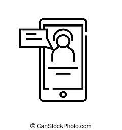 esboço, linha, vetorial, sinal, ilustração, app, linear, assistente, símbolo., conceito, ícone