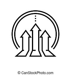 esboço, linha, vetorial, sinal, ilustração, crescimento, linear, símbolo., conceito, ícone, negócio