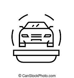 esboço, linha, vetorial, sinal, seguro automóvel, ilustração, linear, símbolo., conceito, ícone