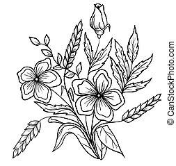 esboço, linhas, arranjo, pretas, white., flores, desenho
