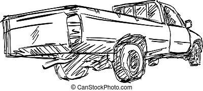 esboço, linhas, pick-up, isolado, ilustração, mão, vetorial, experiência preta, desenhado, caminhão, branca, vista traseira