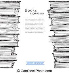 esboço, livros, fundo