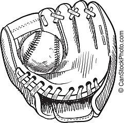 esboço, luva beisebol