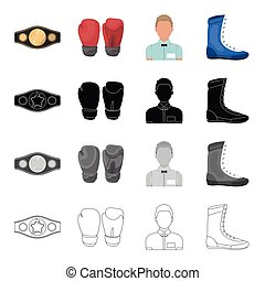 esboço, luvas, estilo, jogo, anel, campeão, ícones, boxe, árbitro, boxe, web., cobrança, caricatura, sneakers., pretas, ilustração, cinto, monocromático, vetorial, símbolo, estoque