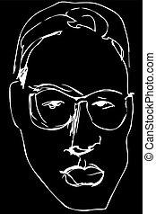 esboço, luxuriante, lábios, vetorial, sério, homem, óculos