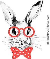 esboço, mão, aquarela, rabbit., hipster, retrato, desenhado