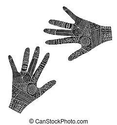 esboço, mãos, boho, ornate, seu, style., desenho
