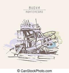 esboço, marinho, touristic, cartão postal, vindima, desenho tinta, bote