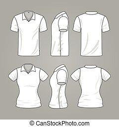 esboço, mens, t-shirt, vetorial, modelo, em branco, branca, womens