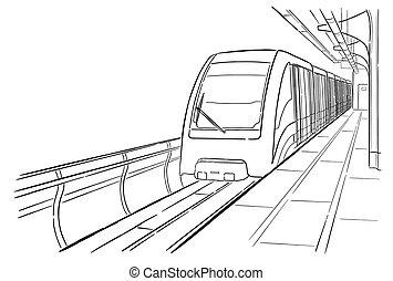 esboço, metro, luz, moscou, mão, estação, desenhado