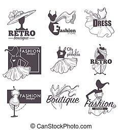 esboço, moda, ícones, boutique, vetorial, retro, vestido