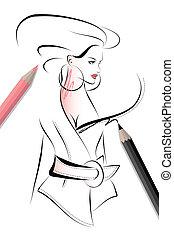 esboço, moda, ilustração