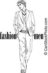 esboço, moda, ilustração, vetorial, man., bonito