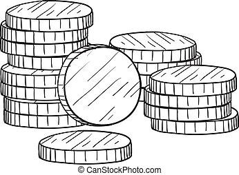 esboço, moedas, pilha