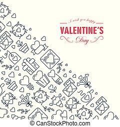 esboço, monotone, quadro, valentines, criativo, composição, dia