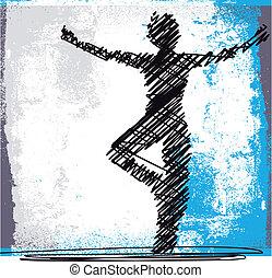 esboço, mulher, abstratos, yoga., meditar, ilustração,...