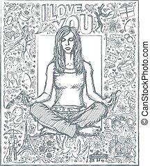 esboço, mulher, amor, pose lotus, história, contra, fundo, meditação