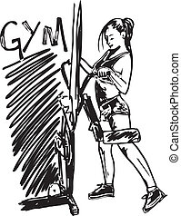 esboço, mulher, trabalhando, ginásio, ilustração, vetorial, dumbbell, saída, weights.
