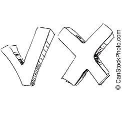 esboço, não, símbolo, ilustração, vetorial, sim
