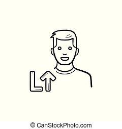 esboço, nível, doodle, cima, mão, jogador, jogo, vídeo, desenhado, icon.