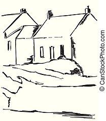 esboço, natureza, mão, casas, vetorial, vila, desenhado