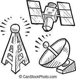 esboço, objetos, telecomunicações