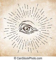 esboço, olho, illustration., occultism, religião, hand-drawn, vetorial, providence., espiritualidade, grunge, alquimia