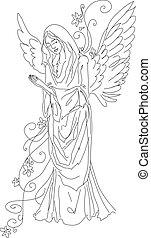 esboço, orando, isolado, anjo