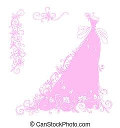 esboço, ornamento, desenho, floral, vestido nupcial, seu
