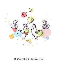 esboço, pássaros