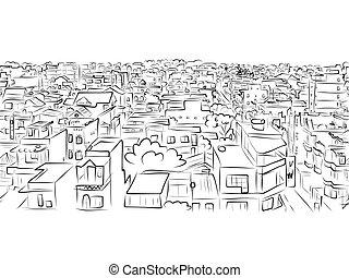 esboço, padrão, seamless, desenho, cityscape, seu